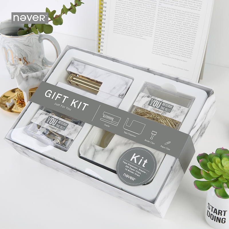 Aliexpress Never Marble Office Supplies Gift Kit Stationery Set Acrylic Stapler Tape Dispenser Paper Clip Binder Clips School From