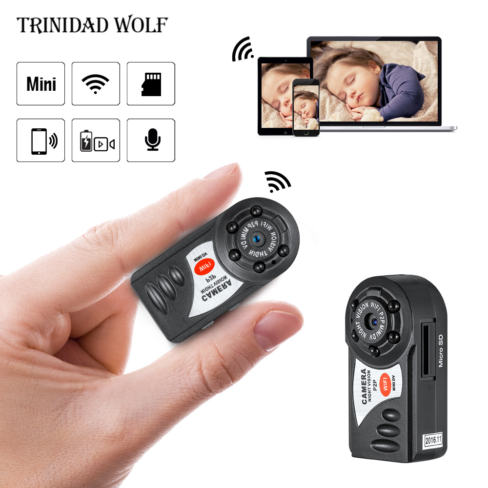 HD Q7 Mini Wifi Cámara de la visión nocturna infrarroja de pequeña cámara DV DVR inalámbrico IP Cam vídeo videocámara grabadora soporte TF tarjeta