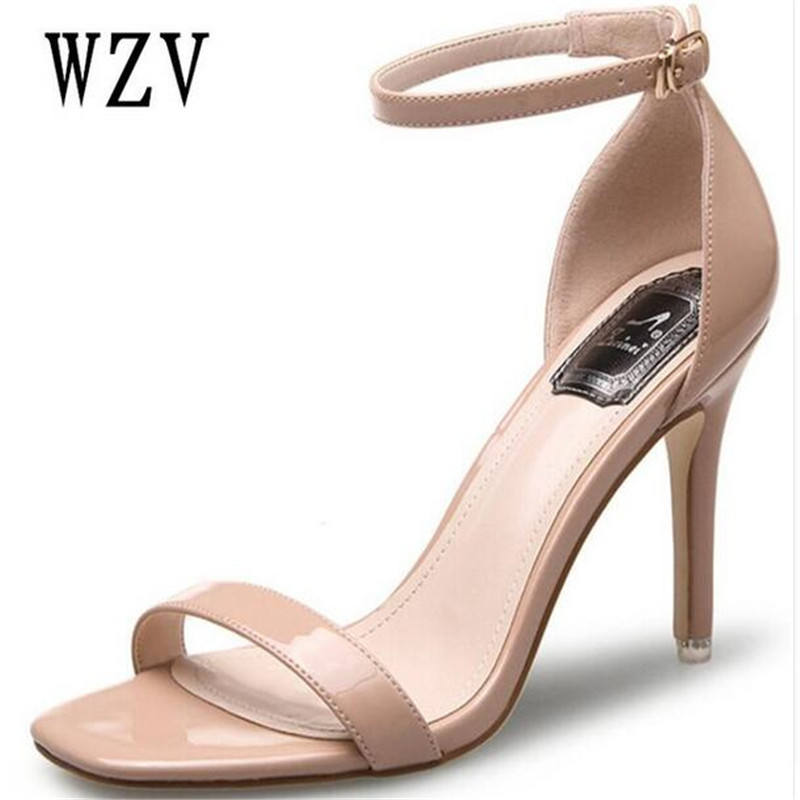 2018 Fashion Women Sandals Sexy Satin Hollow Strip Peep Toe Buckle Trap Strap Thin High Heel Shoes Wedding Shoes Black Red E016