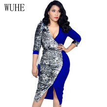 WUHE Sexy Women V Neck Sequins Dress Elegant Long Sleeve Bodycon Pencil OL Office Night Club Party Dresses Big Size S-XXL