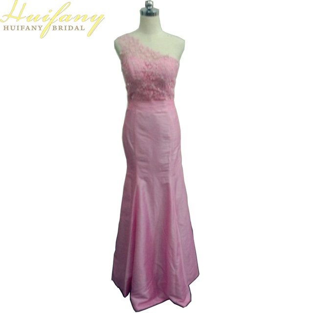 Blush Pink Bridesmaid Dresses Mermaid One Shoulder Long 2017 Taffeta Lace With Crystals Beads Wedding Party