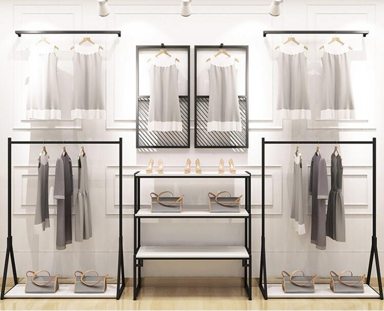 Clothing store display rack, men and women's clothing store shelf hanging on the wall, floor display rack iron hanging clothes