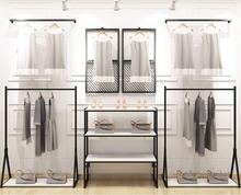 Clothing store display rack, men and women's clothing store shelf hanging on the wall, floor display rack iron hanging clothes retro water pipe hanger iron clothing rack clothing shop clothes rack display rack women s shelf floor type display rack