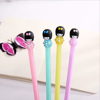 4pcs/lot Creative Cute girl material gel pen  Neutral pen stationery material escolar office school supplies creative owl style gel pen animal student 0 5mm gel ink pen black pen school stationery office supplies neutral pen