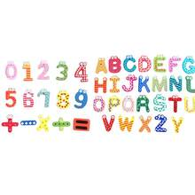 Wooden Cartoon Numbers Fridge Magnets Alphabet Refrigerator Magnetic Letters and Numbers Toys (Capital Letters + Numbers)(China)