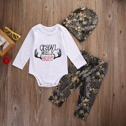 2016 Moda Bebê Roupas de Inverno Bebê Recém-nascido Da Menina do Menino Roupas Crawl Caminhada Caça Topos Romper + Calças Chapéu Roupas Definir 3 PCS