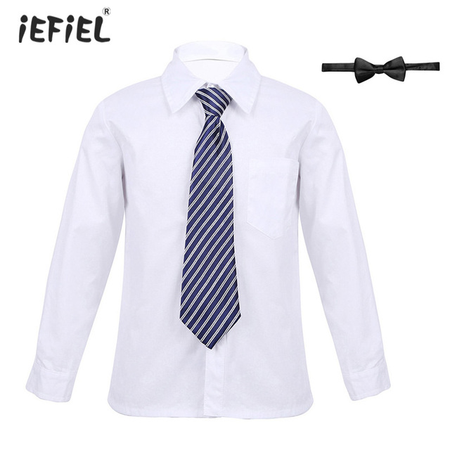 e10a0229dd13 Kids Boys School Uniform Outfit Long Sleeves Lapel Button Down Shirt with  Necktie and Bowtie Set