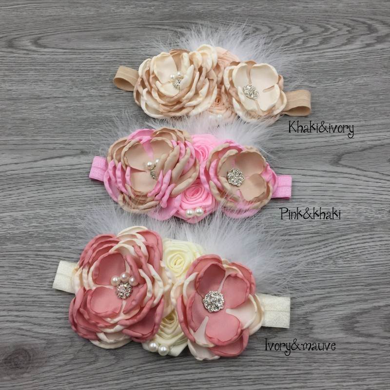 Vintage Rhinestone Feather Baby Headbands Flower Elastic Handmade Floral Hair Bands For Babies Hair Accessories Kidocheese