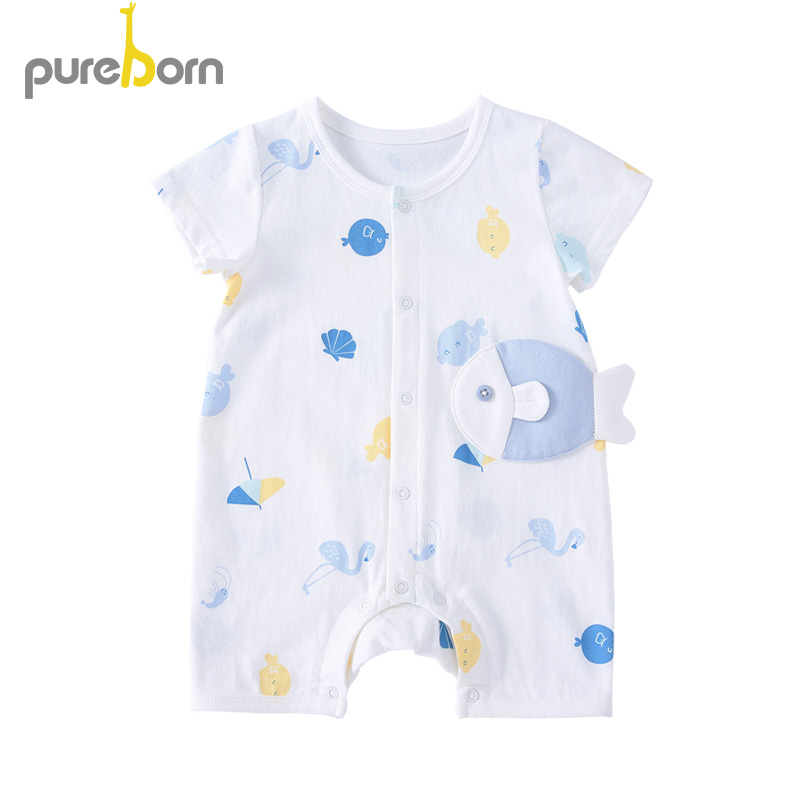 Pureborn Kids One-pieces Short Sleeved Jumpsuits Baby Clothing Cotton Newborn Short   Romper   Infant Boys Girls Clothes Summer