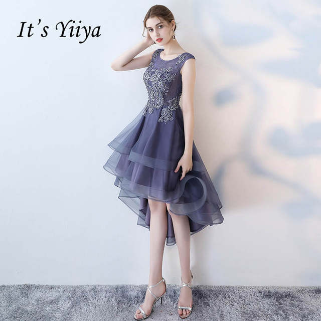 0093a2427c825 US $46.36 39% OFF|It's YiiYa Sex Lace Floral Illusion High low Flowers  Zipper Tea Length Formal Dresses Party Full Dress Vintage Porm Gown  LX096-in ...