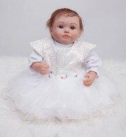 Белое платье Принцесса Возрожденные куклы для девочек 20 дюймов куклы reborn реалистичные, из мягкого силикона настоящие Детские куклы Подарки