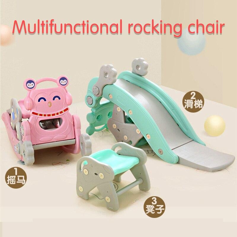 3 en 1 enfants cheval à bascule toboggan multi-fonction cadeau d'anniversaire bébé double usage jouet Trojan chaise à bascule balançoire balançoire