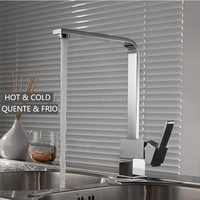 High Quality Kitchen Faucet Chrome Brass Hot And Cold Square Rotating Kitchen Sink Basin Mixer Tap