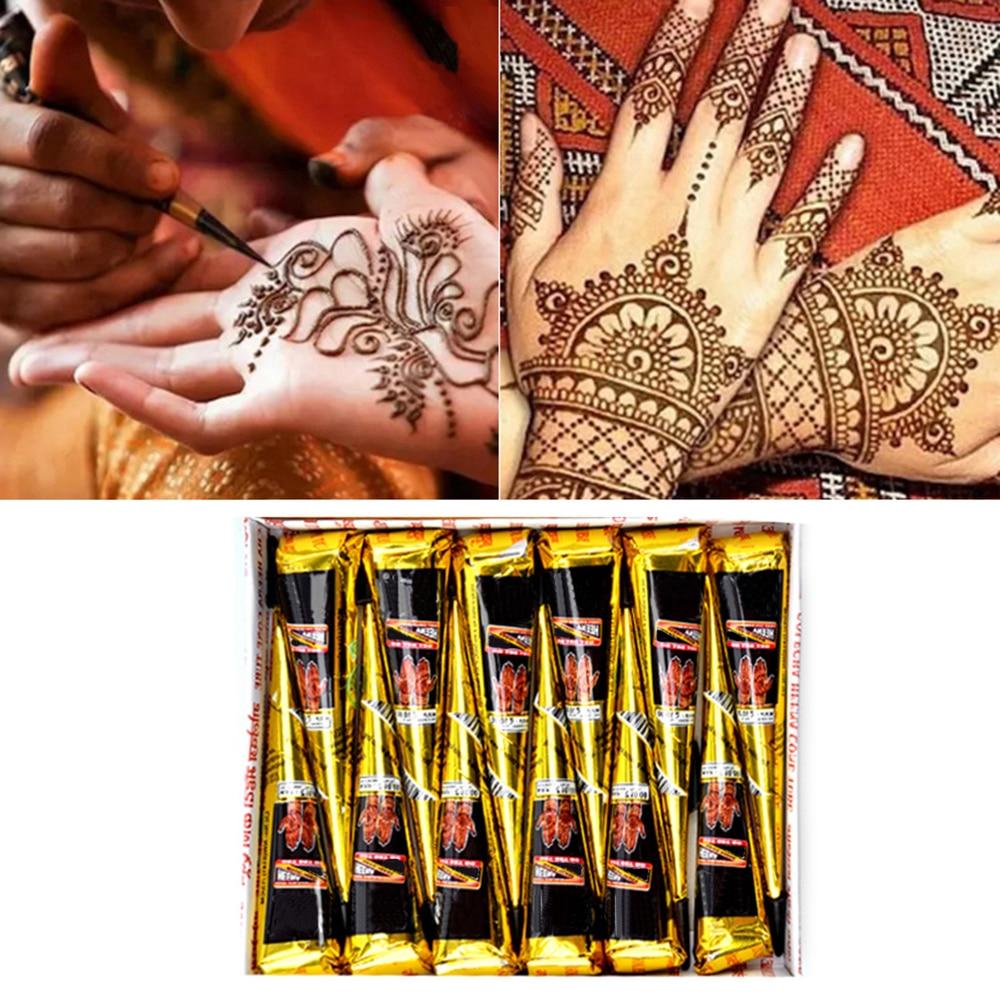 Henna Tattoo Paste Amazon: 1 Piece Black Color Indian Henna Paste Cone Beauty Women