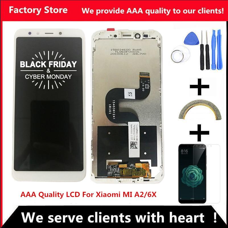 Сменный ЖК-экран с рамкой для XiaoMi Mi A2, MIA2, 2160*1080, качество AAA, в сборе