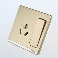 Home Furnishing Wall Switch Socket, 86 Concealed Large Plate Of Champagne Gold, A Double-Control Three-Hole 16A 10A PC 2