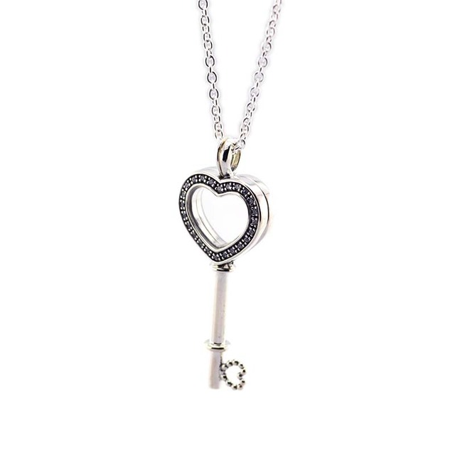 100% 925 Sterling Silver Floating Locket Heart Key Charm Pendant Necklaces For W