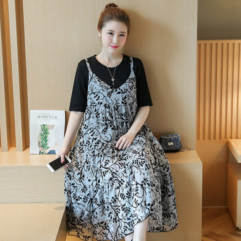 Fashion Floral Chiffon Sling Dress Maternity Dresses Photography Props Vestidos Pregnancy Clothes T Shirt +Dress Sets