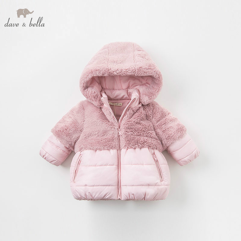 DBA7949 dave bella winter baby girls pink hooded coat infant padded jacket children high quality coat