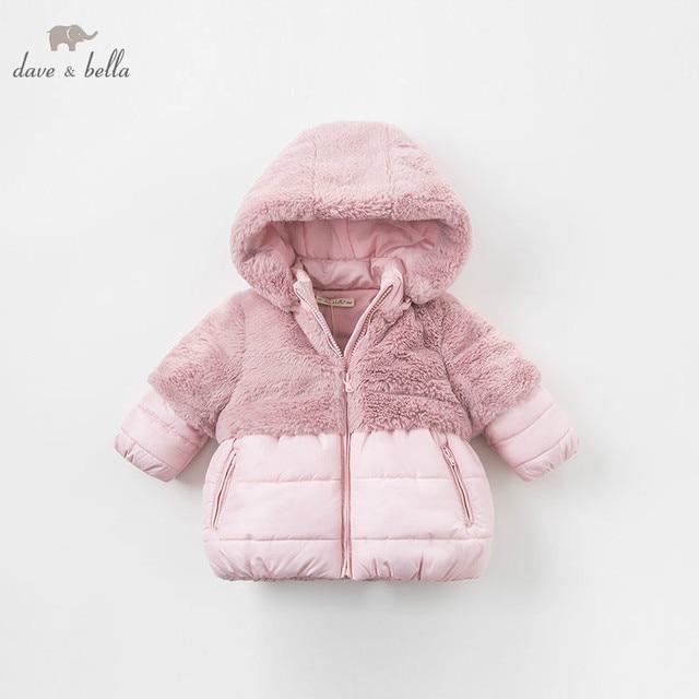 DBA7949 dave bella winter baby meisjes roze kapmantel baby gewatteerde jas kinderen hoge kwaliteit jas kinderen gewatteerde bovenkleding
