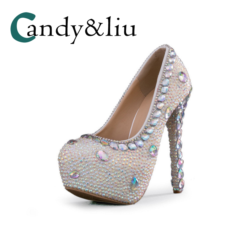 Sequin Mixed Color Pearl Wedding Shoes High Heel Round Toe Platform Rhinestone Crystals Women Pumps for Bridesmaid Party BanquetSequin Mixed Color Pearl Wedding Shoes High Heel Round Toe Platform Rhinestone Crystals Women Pumps for Bridesmaid Party Banquet