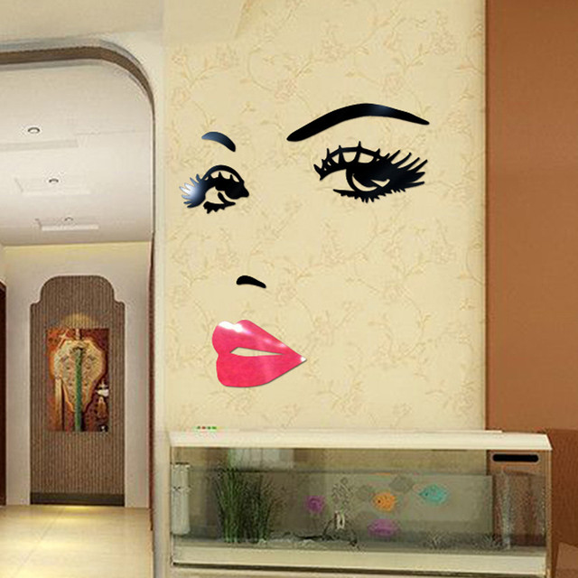 3D Sexy Lady Women Features Face Acrylic Wall Sticker DIY Wall ...