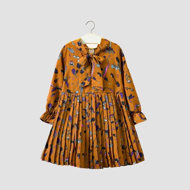 2018 Новое Детское осеннее платье, модное Плиссированное шифоновое платье с длинными рукавами и цветным принтом для девочек 3-8 лет!