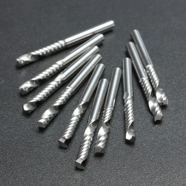 2016 10pcs/lot 1/8 High Quality Cnc Bits Single Flute Spiral Router Carbide End Mill Cutter Tools 3.175 X 17mm (1Lx3.17)