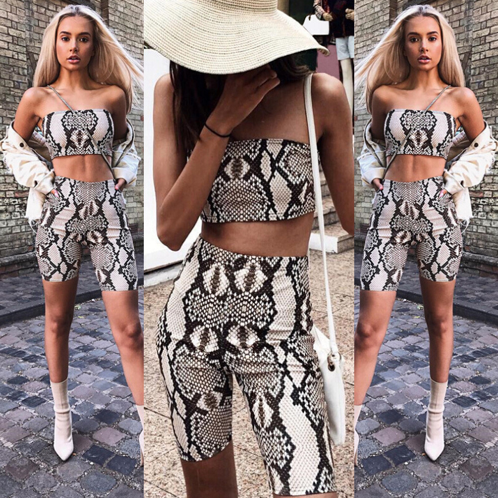 Womens Autumn Casual Shinny Tube Top Shorts Bodycon Two Piece Set Outfits Short Sport Jumpsuit Sets 3