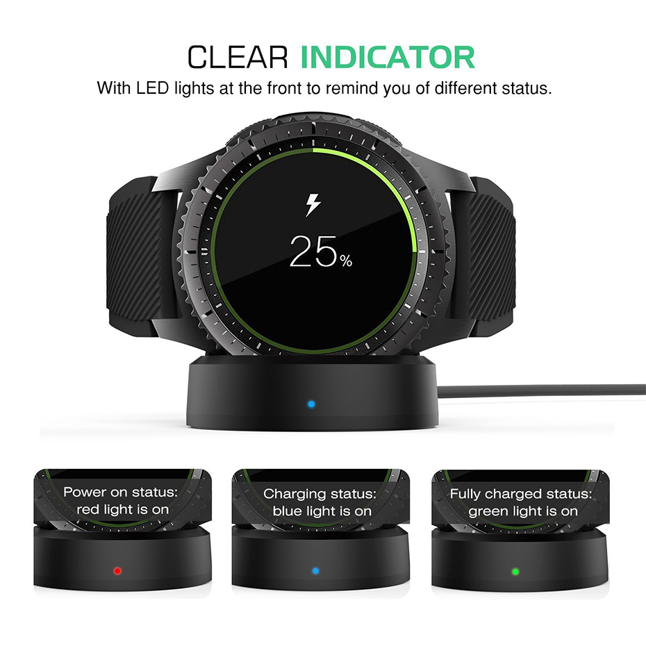 Tiyiviri Chargers Watch Dock-Usb-Cable Samsung Gear Frontier for S3 Classic Wireless