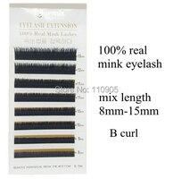 Hurtownie Mix rozmiar/długość Prawdziwe futra Norek rzęs, 100% Syberia Norek Przedłużenie rzęs, B i C curl, 8-13mm