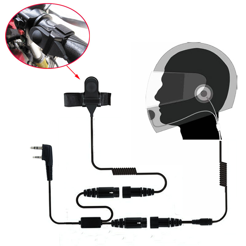 imágenes para Completo motocicleta cara características casco auricular para radio de dos vías baofeng walkie talkie uv-5r uv-5ra plus bf-888s gt-3 mark gt-3tp