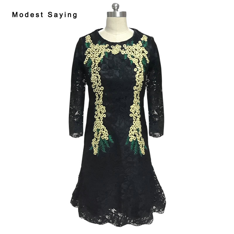 Real Black Straight Embroidery Lace Cocktail Dresses 2017 With 3/4 Sleeves Knee Length Party Prom Gowns Vestido De Festa YSE27