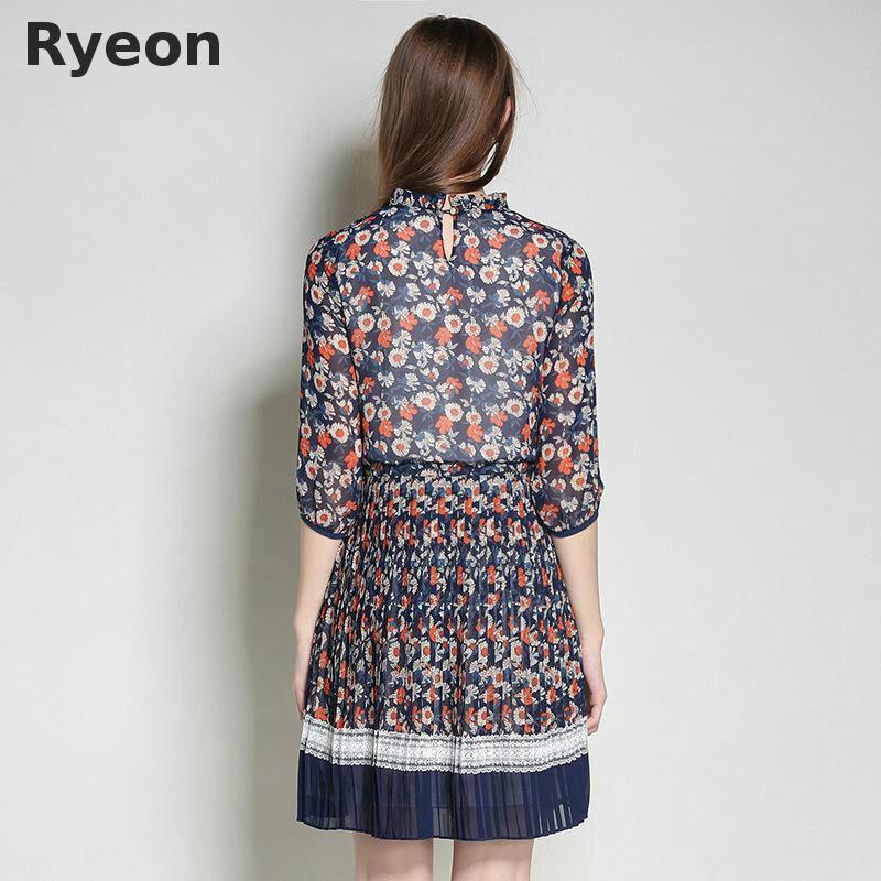 ... Ryeon Plus Size Vintage Dress Loose Print Chiffon Casual Dresses Above  Knee c9ec366e99bf
