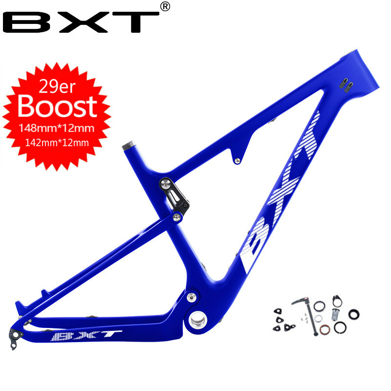 Newest  29er 148/142mm*12mm UD Carbon MTB Full Suspension Cross Country No Logo BSA Rear Shock 165*38mm*22mm Mountain Bike Frame