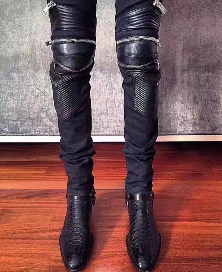 Qualidade Wpg Chelsea Demão Luxo Superior Tinta Ocidentais Marca Serpentine Motociclista Sapatos Sapatas Botas Designer De Homens Dos Preto Novo Estilo Mens wztqrzd
