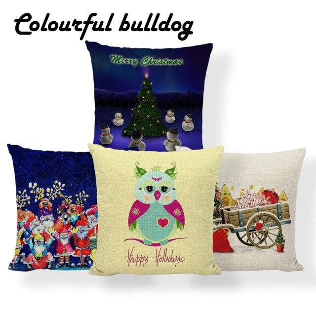 2018 Merry Christmas Gift Cushions Santa Claus Deer Pillows Tropical