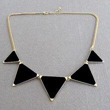 Старинных геометрическая аксессуаров треугольник колье изделий ювелирных ожерелье черный мода женщин