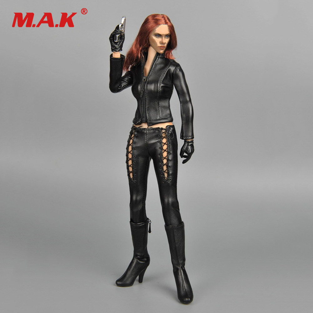 Figures Acc 1/6 Black Leather Suit Female Riders Locomotive Motorcycle Clothing Set For 12Black Widow Scarlett Action FigureFigures Acc 1/6 Black Leather Suit Female Riders Locomotive Motorcycle Clothing Set For 12Black Widow Scarlett Action Figure