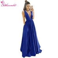 Александра Королевский синий с v образным вырезом пикантные вечерние платье V Назад Атласные модные платья для выпускного вечера плюс Разме