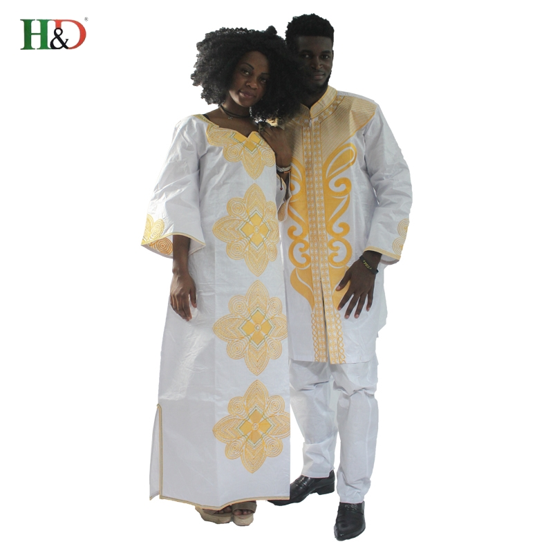 H&D 2019 traditional mens african clothing for men and women bazin riche embroidery design Dashiki robe Couples clothes dress