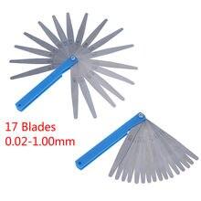 1 ensemble métrique palpeur jauge 17 lames 0.02-1.00mm mesures outils acier inoxydable pliable épaisseur écart remplisseur palpeur jauges
