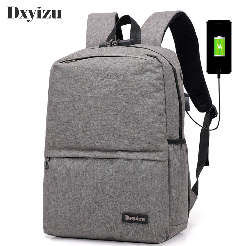 f016b3ffb711 US $19.51 50% OFF|Canvas Backpacks Men Large Capacity USB Charger Notebook  Bags Coded Lock Anti Theft Business Neutral Backpack Travel School Bag-in  ...