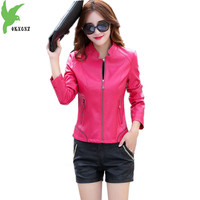High Quality Leather Jacket Female Costume Short Locomotive Small Jacket Solid Color Casual Tops Temperament Coat