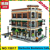 2016 New LEPIN 15017 4616Pcs Starbucks Bookstore Cafe Model Building Kits Blocks Bricks Compatible Funny Toys