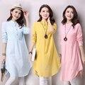 Mujeres de gran tamaño de estilo popular de algodón de lino camisa holgada camisa de manga larga Cuello Mao camisa CY-9-42