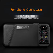 For iPhone X phone camera lens Case 6 in 1 Dual Optics Phone Lens 160 Degree Fisheye Lens+110 Degree Wide Angle+10x Macro Lens(China)