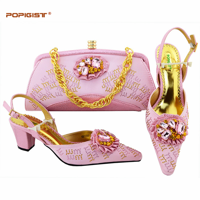 430f8977eec3 Pink Shoe and Bag Set for Party In Women Crystal Wedding Shoes Shoes with  Rhinestones African Wedding Italian Shoe and Bag Set