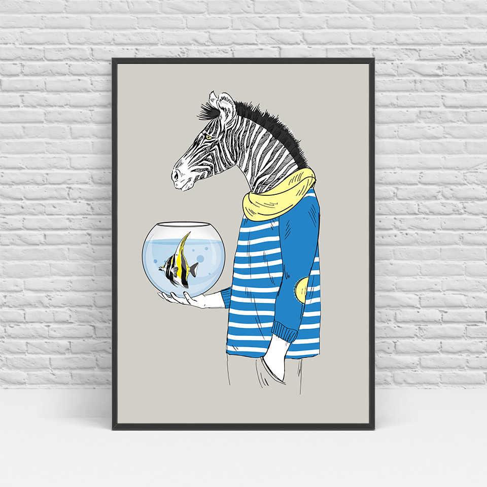 الحديث الشمالي القرود الكنغر الكلاب زيبرا الحيوانات canvas art print poster جدار صور للمنزل الديكور اللوحة بدون إطار