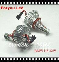 Free Shipping H8 White Angel Eyes Halo Ring LED 32w H8 Light Bulb For BMW E92 E93 E82 E90 X5 X6 7000k